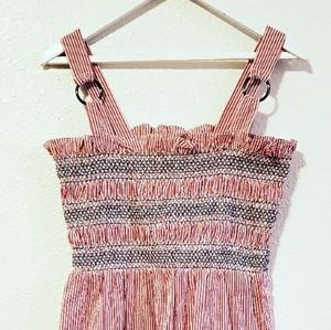 Topshop Striped Shirred / Smocked Midi Dress